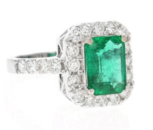 Load image into Gallery viewer, 4.30 Carats Natural Emerald and Diamond 18K Solid White Gold Ring