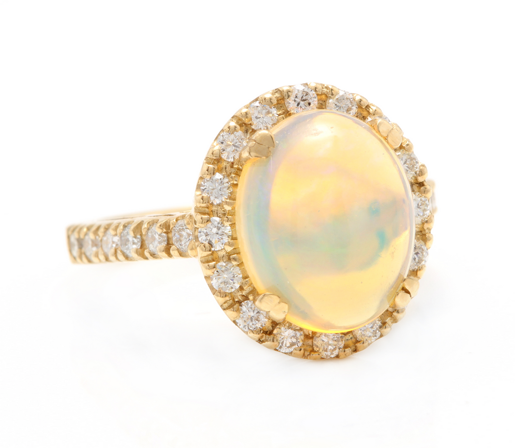 5.10 Carats Natural Impressive Ethiopian Opal and Diamond 14K Solid Yellow Gold Ring