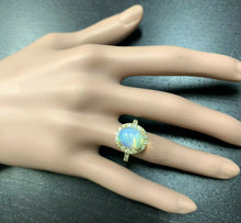 Load image into Gallery viewer, 5.10 Carats Natural Impressive Ethiopian Opal and Diamond 14K Solid Yellow Gold Ring
