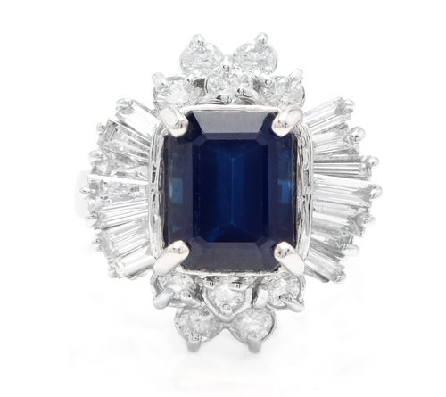 5.04 Carats Exquisite Natural Blue Sapphire and Diamond 14K Solid White Gold Ring