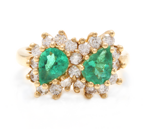 2.70 Carats Natural Emerald and Diamond 14K Solid White Gold Ring