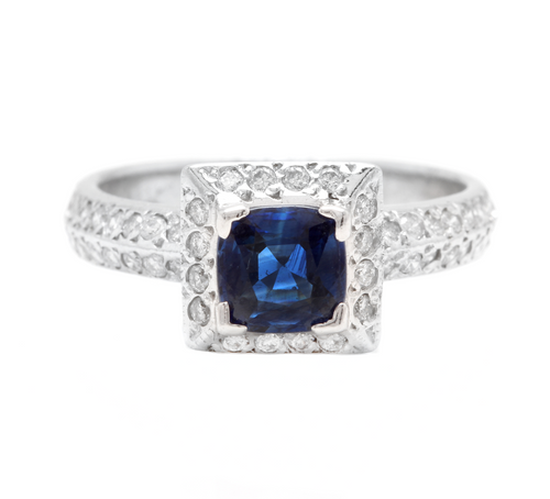 1.50 Carats Exquisite Natural Ceylon Blue Sapphire and Diamond 14K Solid White Gold Ring