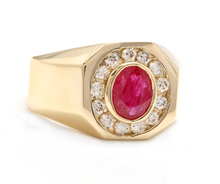 Load image into Gallery viewer, 3.00 Carats Natural Ruby and Diamond 14K Solid Yellow Gold Men's Ring