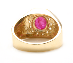 3.00 Carats Natural Ruby and Diamond 14K Solid Yellow Gold Men's Ring