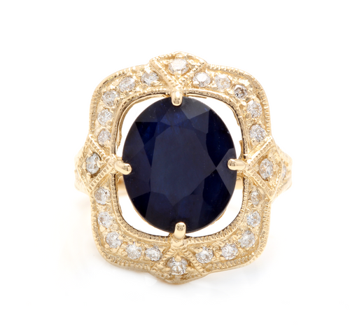 6.70 Carats Exquisite Natural Blue Sapphire and Diamond 14K Solid Yellow Gold Ring