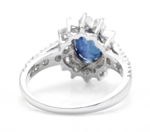 3.25 Carats Exquisite Natural Blue Sapphire and Diamond 14K Solid White Gold Ring