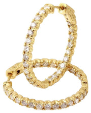 Load image into Gallery viewer, Exquisite 2.10 Carats Natural Diamond 14K Solid Yellow Gold Hoop Earrings