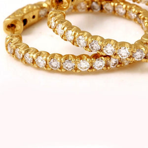 Exquisite 2.10 Carats Natural Diamond 14K Solid Yellow Gold Hoop Earrings