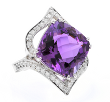 Load image into Gallery viewer, 14.70 Carats Natural Amethyst and Diamond 14K Solid White Gold Ring