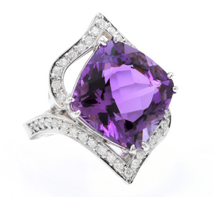 14.70 Carats Natural Amethyst and Diamond 14K Solid White Gold Ring