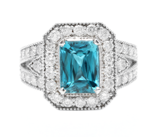 5.95 Carats Natural Very Nice Looking Blue Zircon and Diamond 14K Solid White Gold Ring