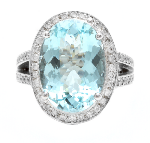 10.20 Carats Natural Impressive Natural Aquamarine and Diamond 14K White Gold Ring