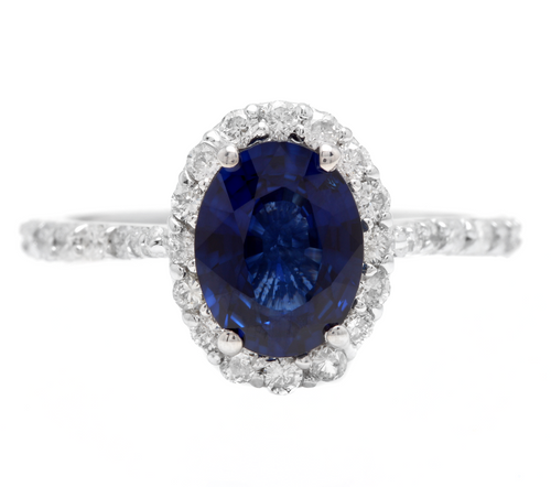 3.10 Carats Exquisite Natural Blue Sapphire and Diamond 14K Solid White Gold Ring