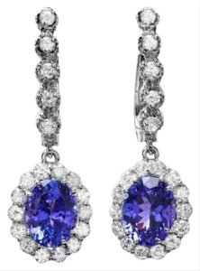 Exquisite 5.25 Carats Natural Tanzanite and Diamond 14K Solid White Gold Earrings