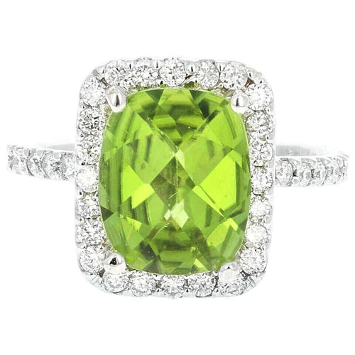 4.20 Carats Impressive Natural Peridot and Diamond 14K White Gold Ring
