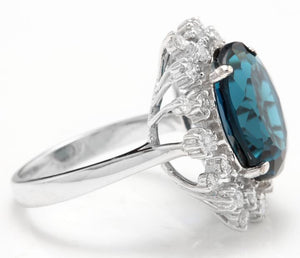 11.80 Carats Exquisite London Blue Topaz and Diamond 14K Solid White Gold Ring