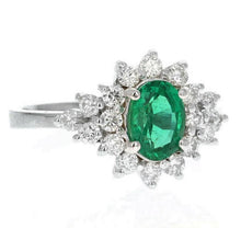 Load image into Gallery viewer, 2.25 Carats Natural Emerald and Diamond 14K Solid White Gold Ring