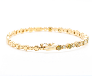 Very Impressive 1.84 Carats Natural Fancy Color Diamond 14K Solid Yellow Gold Bangle Bracelet