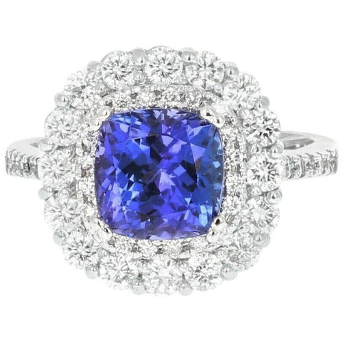 4.10 Carats Natural Very Nice Looking Tanzanite and Diamond 14K Solid White Gold Ring