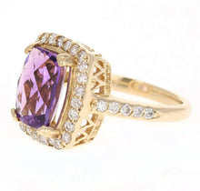 Load image into Gallery viewer, 4.70 Carats Natural Impressive Amethyst and Diamond 14K Yellow Gold Ring
