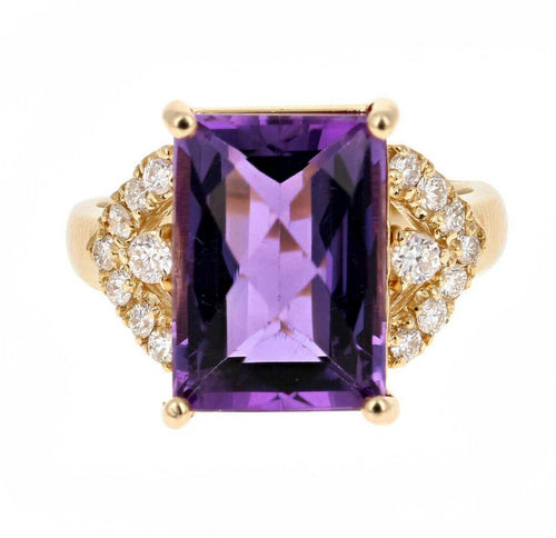 14.60 Carats Natural Amethyst and Diamond 14K Solid Yellow Gold Ring