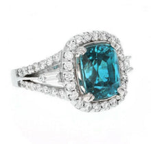 Load image into Gallery viewer, 9.75 Carats Natural Very Nice Looking Zircon and Diamond 14K Solid White Gold Ring