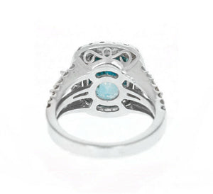 9.75 Carats Natural Very Nice Looking Zircon and Diamond 14K Solid White Gold Ring