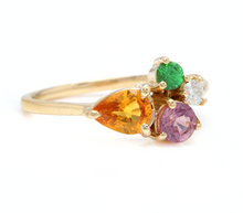 Load image into Gallery viewer, 1.60 Carats Natural Multi-Color Sapphire, Tsavorite and Diamond 14K Solid Yellow Gold Ring
