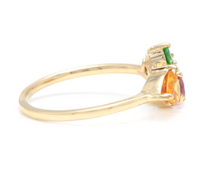 1.60 Carats Natural Multi-Color Sapphire, Tsavorite and Diamond 14K Solid Yellow Gold Ring