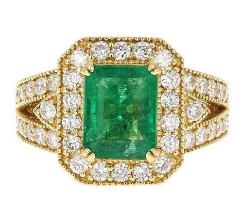 4.40 Carats Natural Emerald and Diamond 14K Solid Yellow Gold Ring