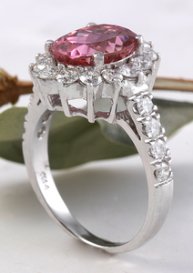 5.60 Carats Natural Very Nice Looking Tourmaline and Diamond 14K Solid White Gold Ring