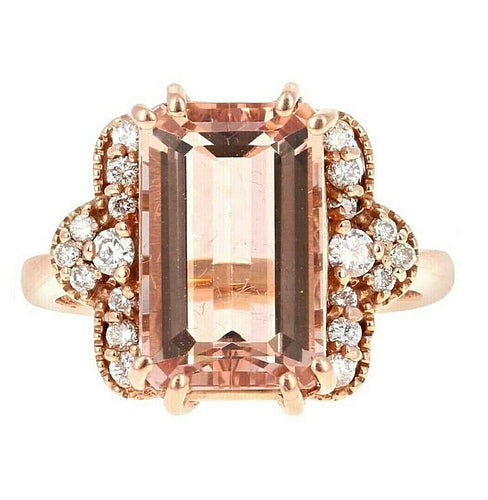 6.35 Carats Exquisite Natural Morganite and Diamond 14K Solid Rose Gold Ring