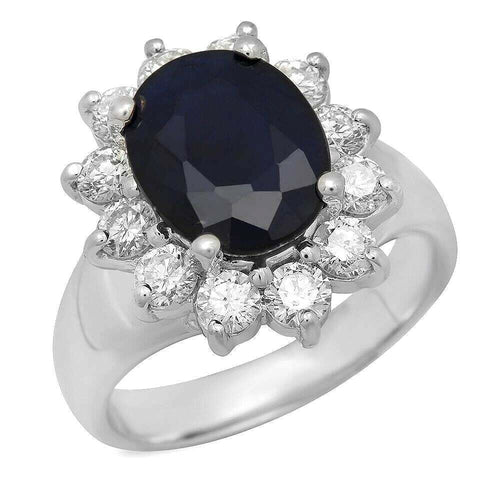 5.30 Carats Exquisite Natural Blue Sapphire and Diamond 14K Solid White Gold Ring