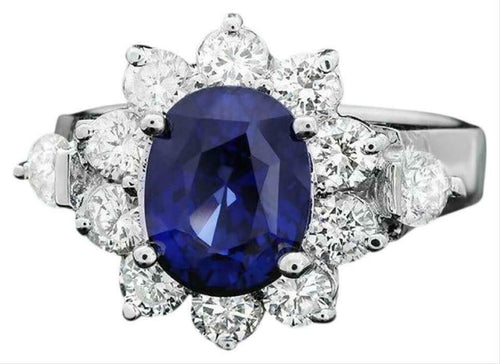 4.70 Carats Exquisite Natural Blue Sapphire and Diamond 14K Solid White Gold Ring