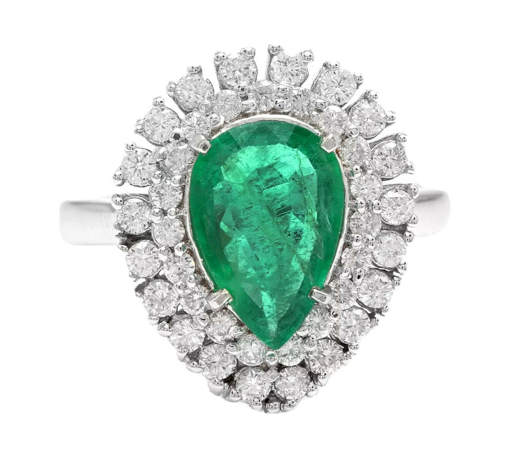 3. 70 Carats Natural Emerald and Diamond 14K Solid White Gold Ring