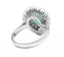 Load image into Gallery viewer, 3. 70 Carats Natural Emerald and Diamond 14K Solid White Gold Ring