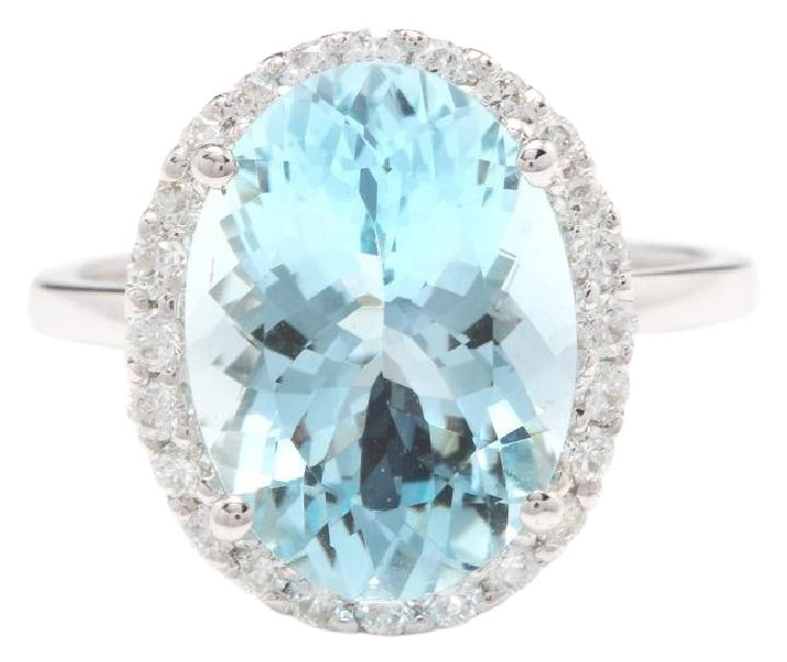 6.00 Carats Exquisite Natural Aquamarine and Diamond 14K Solid White Gold Ring