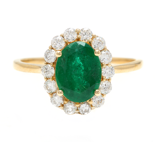 2.50 Carats Exquisite Emerald and Diamond 14K Solid Yellow Gold Ring