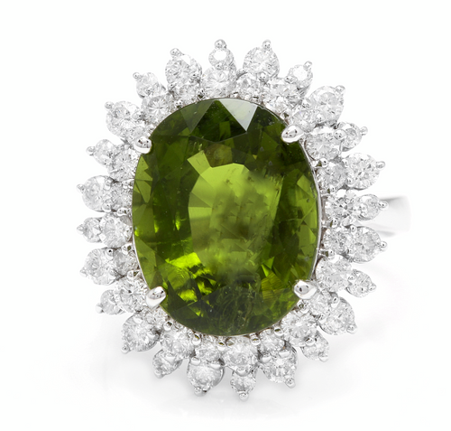 11.30 Carats Natural Very Nice Looking Green Tourmaline and Diamond 14K Solid White Gold Ring