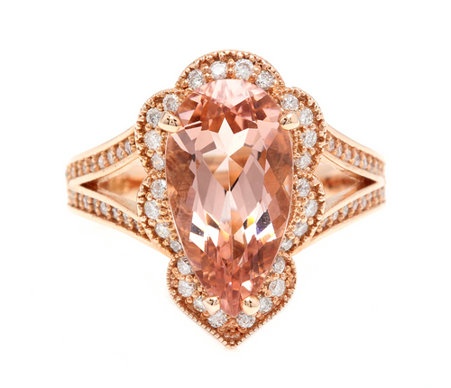 5.10 Carats Exquisite Natural Morganite and Diamond 14K Solid Rose Gold Ring