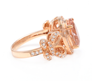 4.50 Carats Impressive Natural Morganite and Diamond 14K Solid Rose Gold Ring