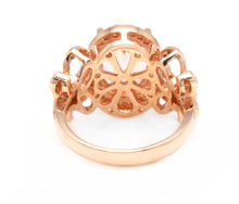 Load image into Gallery viewer, 4.50 Carats Impressive Natural Morganite and Diamond 14K Solid Rose Gold Ring