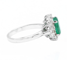 Load image into Gallery viewer, 3.10 Carats Exquisite Emerald and Diamond 14K Solid White Gold Ring