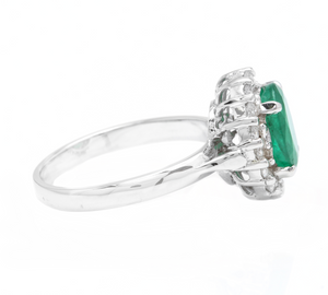 3.10 Carats Exquisite Emerald and Diamond 14K Solid White Gold Ring