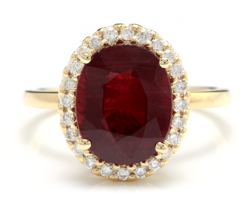 5.80 Carats Impressive Red Ruby and Natural Diamond 14K Yellow Gold Ring