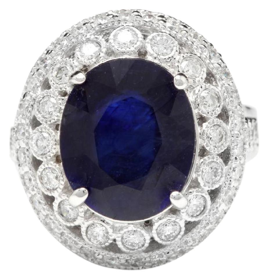 8.20 Carats Exquisite Natural Blue Sapphire and Diamond 14K Solid White Gold Ring