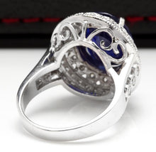 Load image into Gallery viewer, 8.20 Carats Exquisite Natural Blue Sapphire and Diamond 14K Solid White Gold Ring