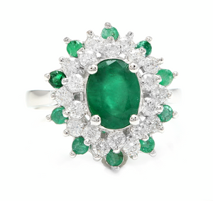 3.30 Carats Exquisite Emerald and Diamond 14K Solid White Gold Ring