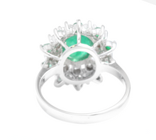 Load image into Gallery viewer, 3.30 Carats Exquisite Emerald and Diamond 14K Solid White Gold Ring