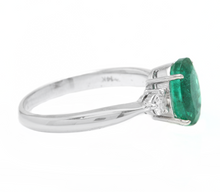 Load image into Gallery viewer, 1.66 Carats Exquisite Emerald and Diamond 14K Solid White Gold Ring